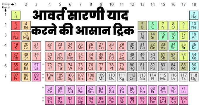 आवर्त सारणी याद करने के आसान तरीके - Periodic Table Tricks in Hindi