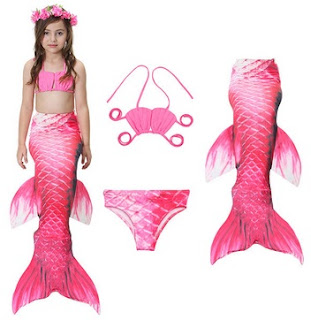 3Pcs Mermaid Tail Swimmable Bikini Bathing Suit Children Swimwear