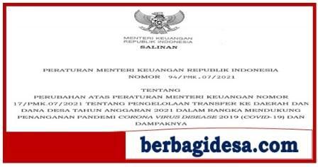 Permenkeu No 94/PMK.07/2021 Tentang Pengelolaan Transfer Ke Daerah dan Dana Desa
