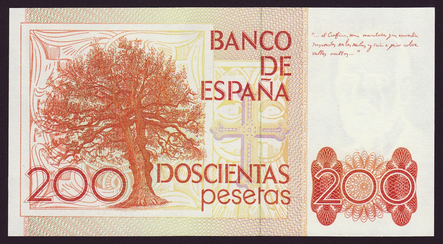 Spain Money Currency 200 Pesetas banknote 1980 Asturias Oak - Asturian royalty