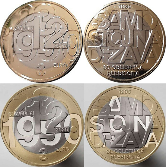 Slovenia 3 euro 2020 - Plebiscite on Sovereignty and Independence