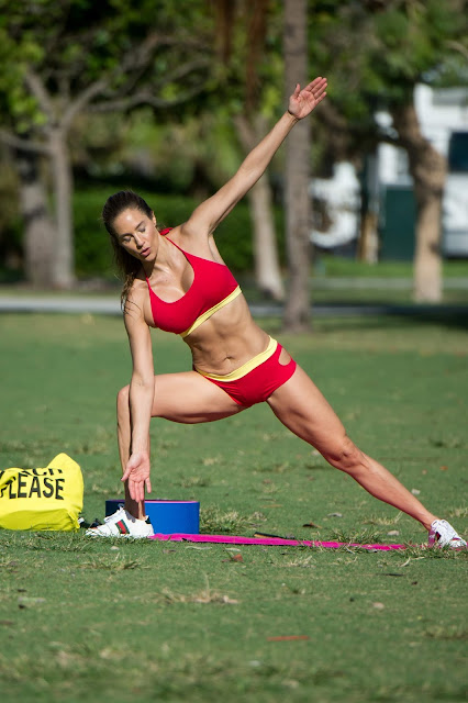 Jennifer Nicole Lee - working up a sweat out on Miami Beach