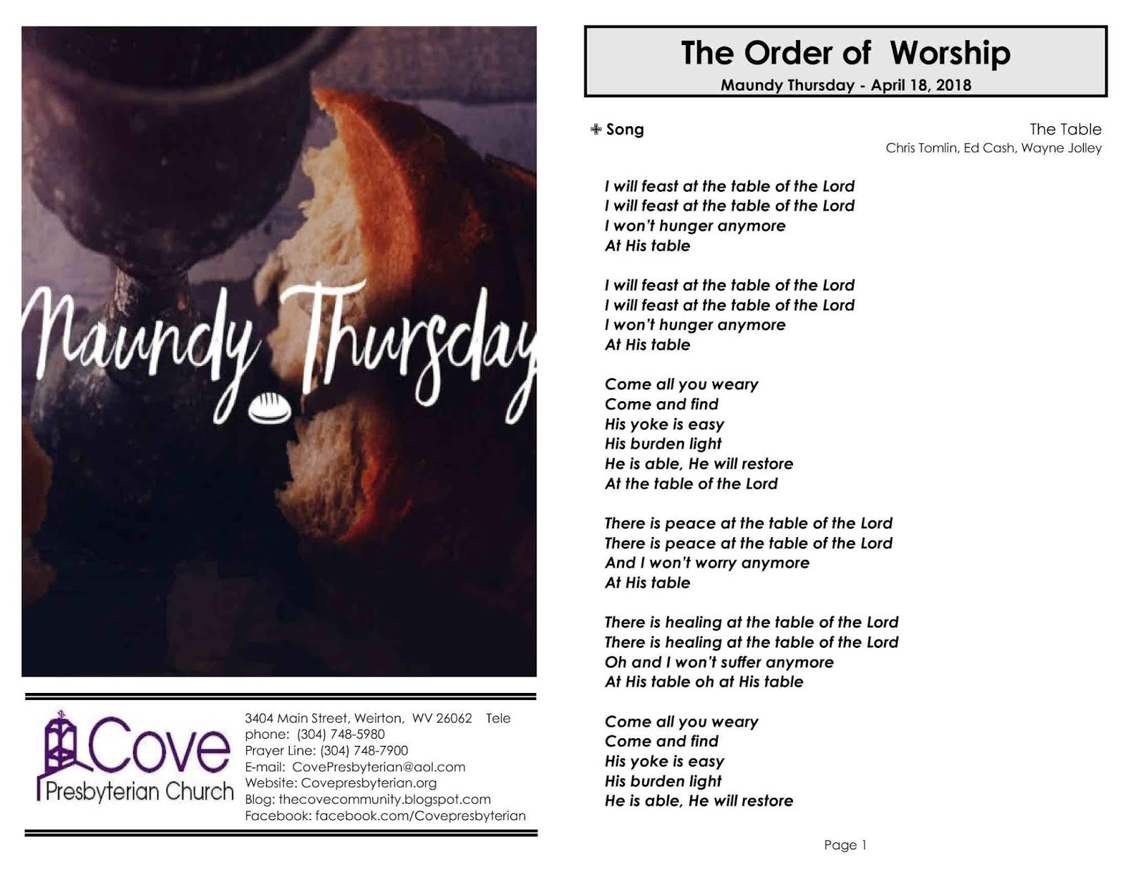 Cove's Maundy Thursday Love Fest - Thursday, April 18, 2019