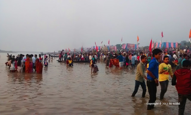 Chhath Puja early morning in Sone river, Dehri on Sone, Bihar