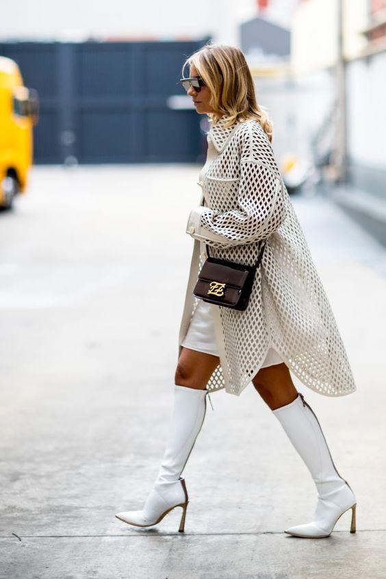 WHITE KNEE  BOOT fashion TREND