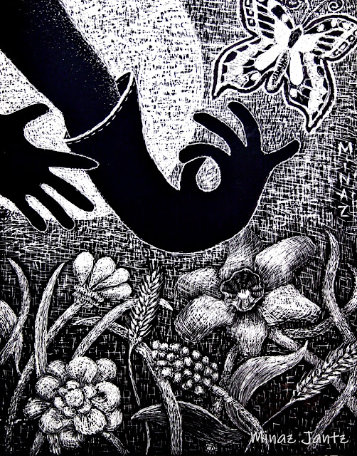 Moonlight Garden Dance by Minaz Jantz (Scratchboard)