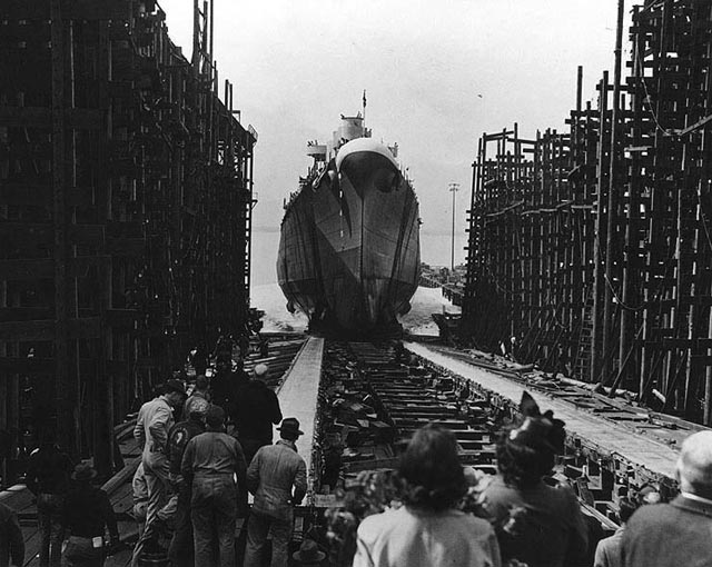 Launching of USS Birmingham, 20 March 1942 worldwartwo.filminspector.com