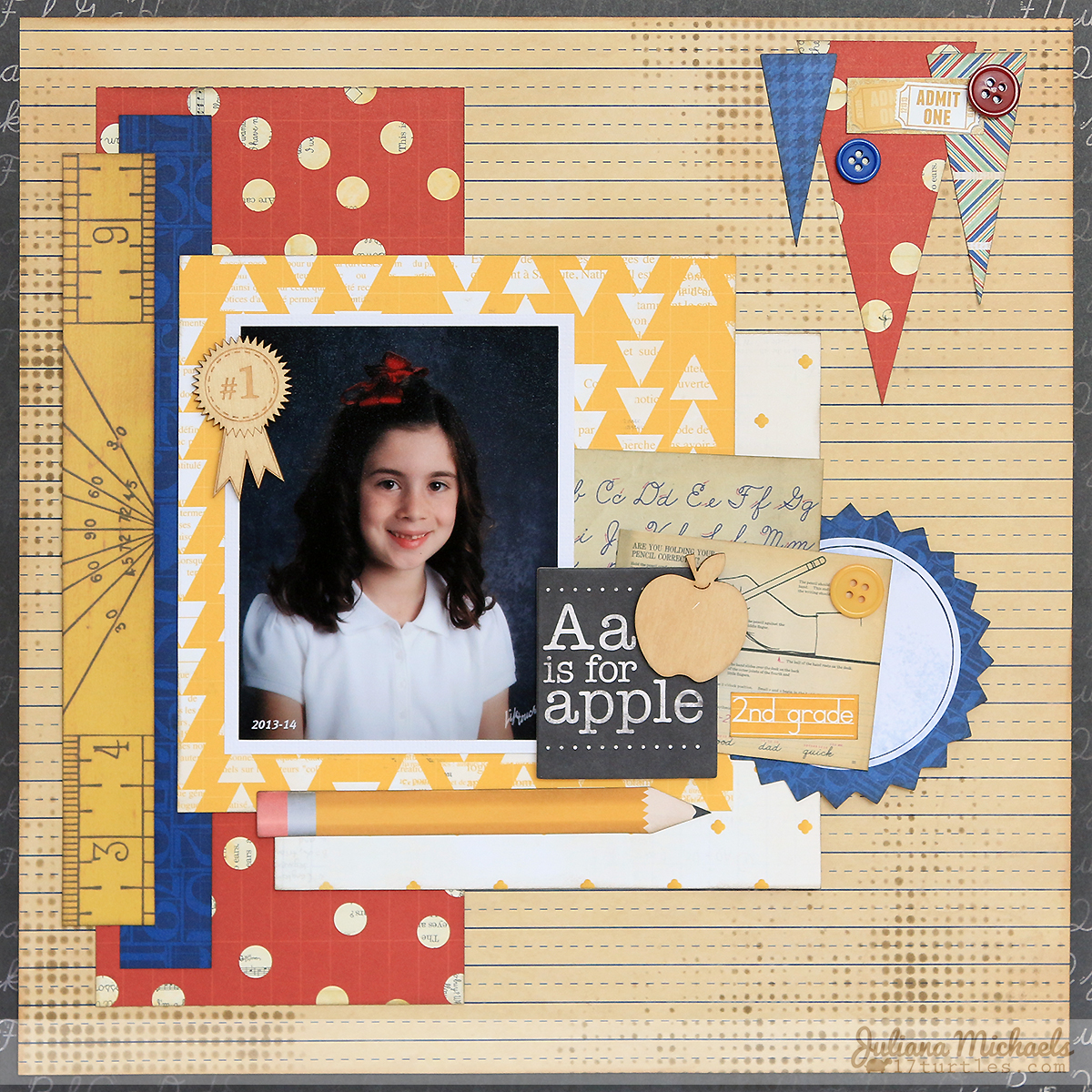 A is for Apple Scrapbook Page Juliana Michaels #bobunny #scrapbookpage #schoolphotos