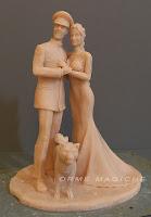 cake topper sculture per torte nuziali realizzate a mano modellini sposi orme magiche
