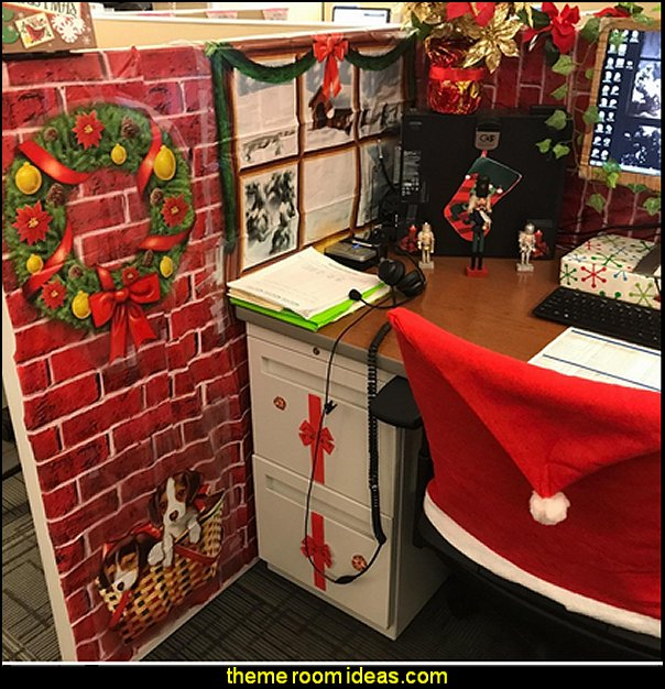 Brick Wall Backdrop Christmas cubicle