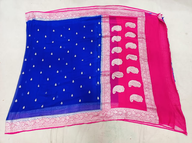 Pure Georgette Chiffon setet colour saree navy blue and pink