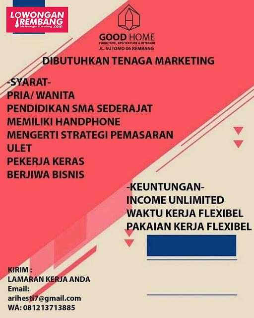 Lowongan Kerja Tenaga Marketing Good Home Rembang