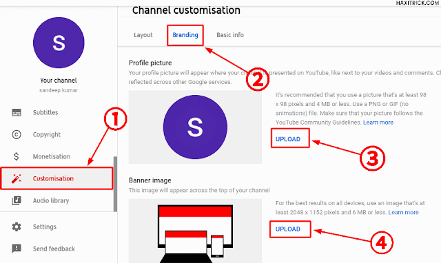 Channel Customisation Logo and Cover Photo