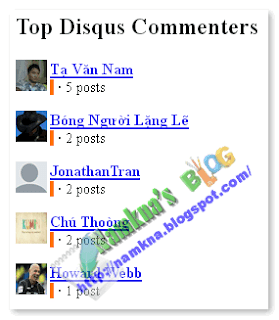 Thêm Disqus Top Commenters Widget cho Blogger
