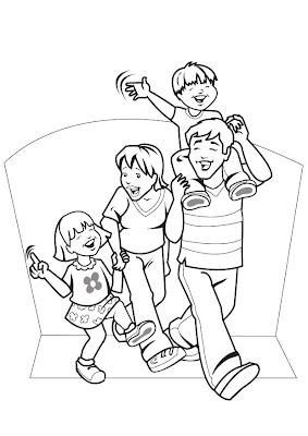 Familia Para Colorear 4 Dibujo
