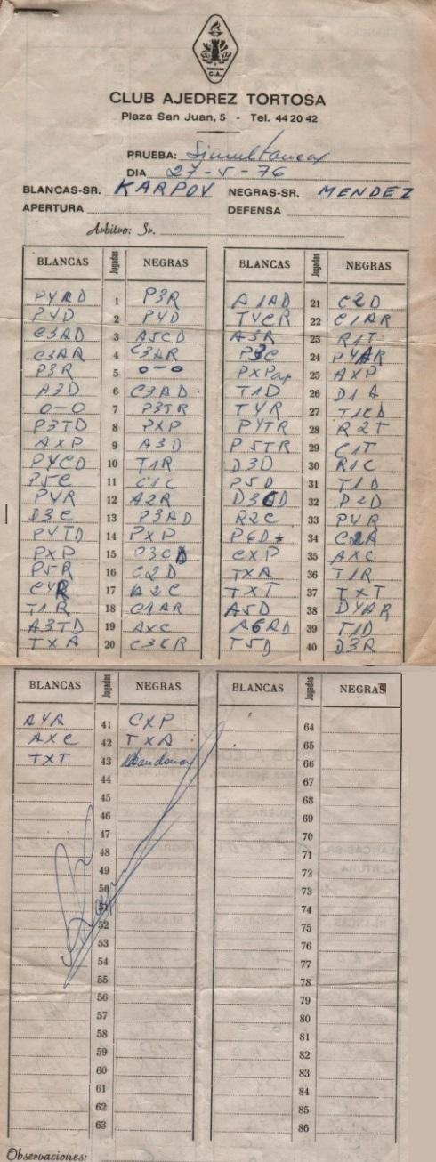 Planilla de la partida de ajedrez Kárpov-Manuel Méndez, 1976