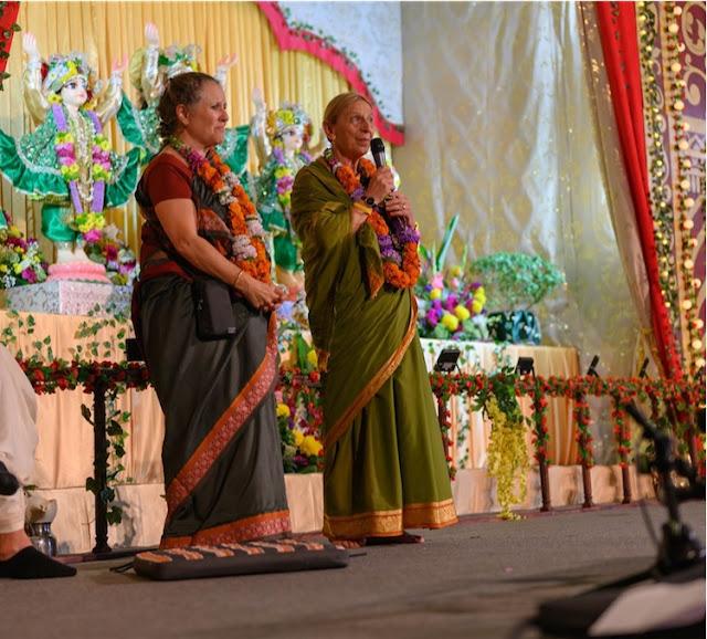 Rukmini Devi Dasi and Mondakini Devi Dasi, who first came to Russia in 1972, address the crowd