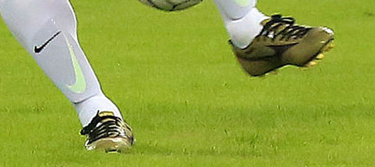 ... as he already debuted the utterly classy golden pair of the Mizuno  Morelia Boot in a legends match between Real Madrid and Liverpool on June  14 34ab31ed893
