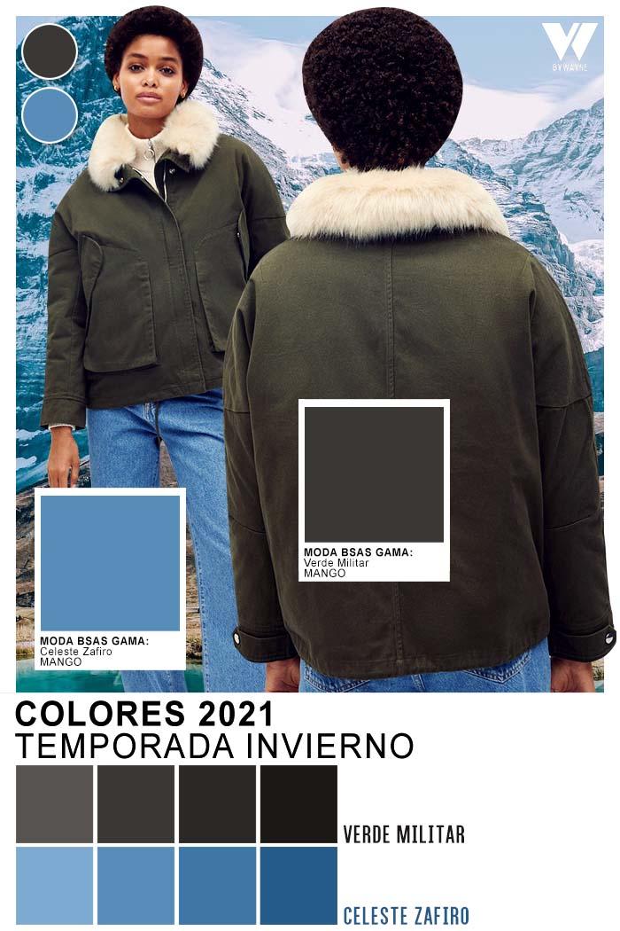 Verde militar y celeste denim moda colores otoño invierno 2021
