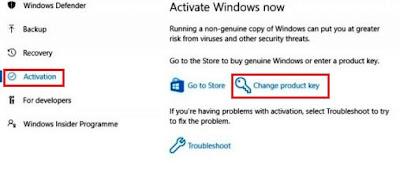 14. Pilih Activation dan Change Product Key untuk aktivasi Windows 10