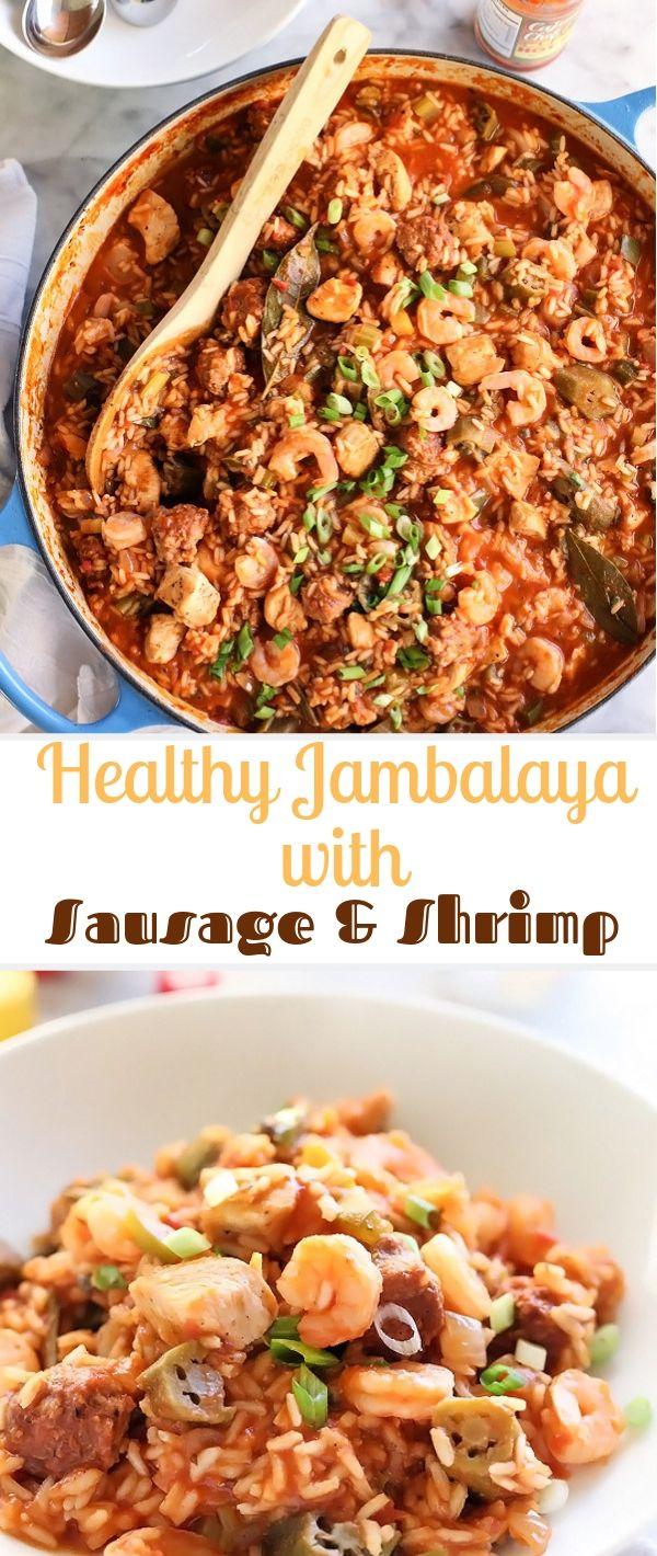 Healthy Jambalaya with Sausage & Shrimp #Healthy#Jambalaya#Sausage#Shrimp   Healthy Recipes For Weight Loss, Healthy Recipes Easy, Healthy Recipes Dinner,