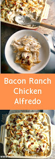 Bacon Ranch Chicken Alfredo:  The ultimate comfort pasta dish is made into a quick and easy weeknight meal, bursting with gooey cheese and bacon! - Slice of Southern
