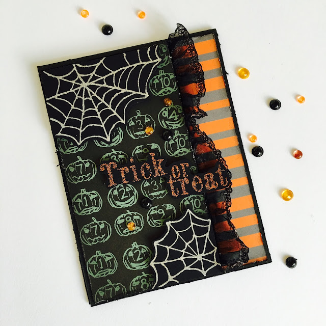 Trick or Treat Halloween Card by Angela Tombari for The Robin's Nest