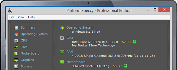 Speccy ile Bilgisayar Isı Değerlerini Ölçmek Mümkün