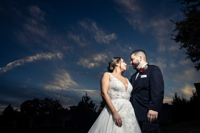 bride and groom with big sky