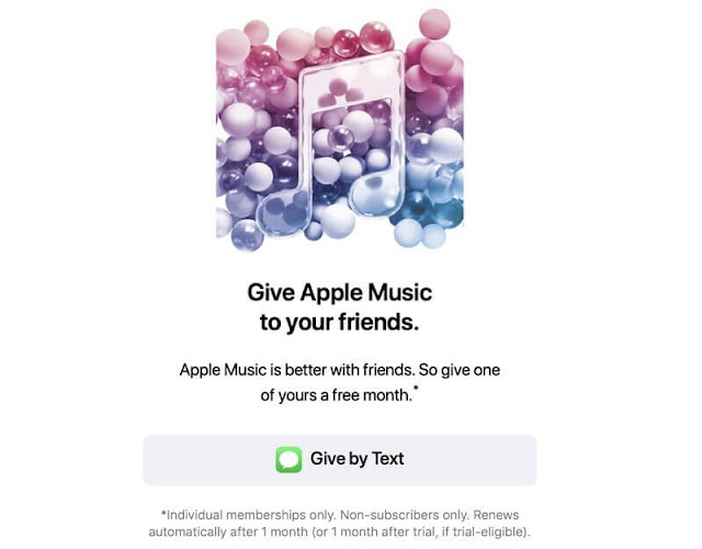 Apple Songs subscribers that, when tapped, allows them to send a referral to friend to register for a free one-month membership to Apple Music.