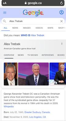 L'Oeuf de Pâques Alex Trebek sur Google Search