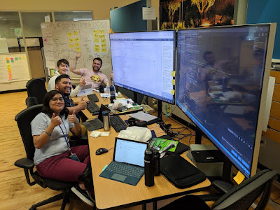 "Those people doing #MobProgramming. They are unit testing, refactoring to patterns, and deploying their own infrastructure! What are they working on?? ""Oh Those are the interns!"""