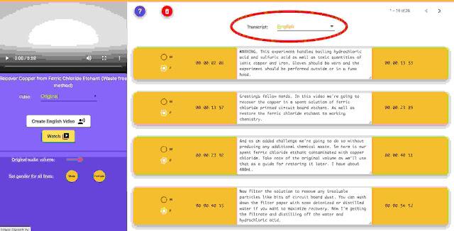 Votch.tv Selecting Translation Language