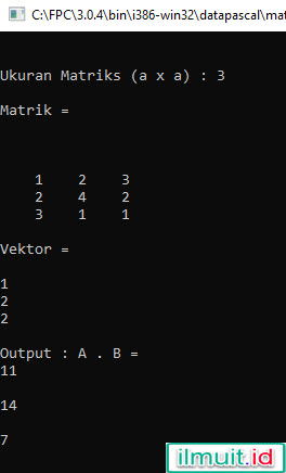 hasil perkalian matrik x vektor pascal