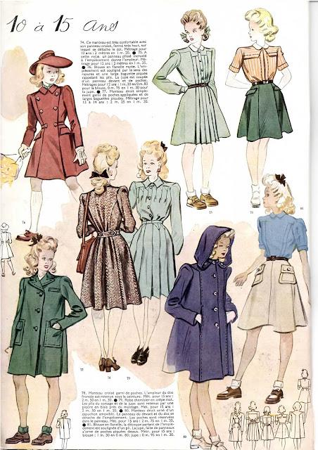 magazine mode et travaux octobre 1942 la mode de 10 à 15ans pour enfants et adolescents
