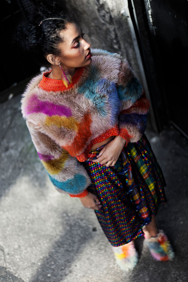 Heidi Mortimer Hicks, Manchester based designer, rainbow look