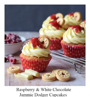 These Jammie Dodger Cupcakes are perfect for those who love these popular sandwich biscuit.  The cupcakes incorporate the tasty raspberry & white chocolate flavour combo for an extra yummy pimped up treat!