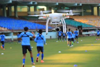 Team India practice session at Kochi monitored by Drone
