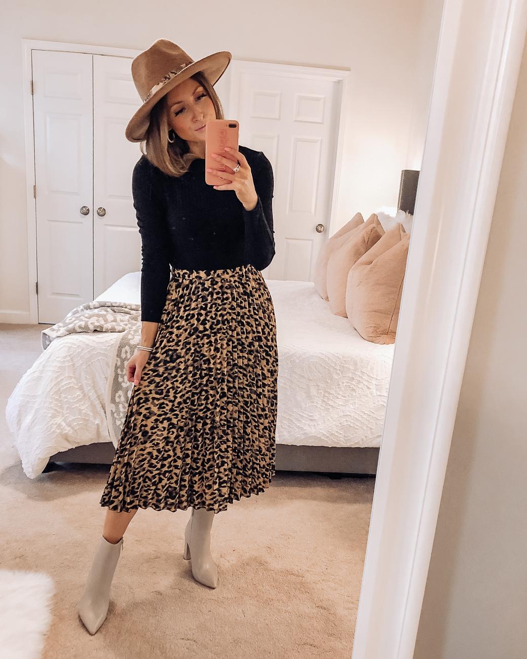 nordstrom anniversary sale halogen leopard midi skirt