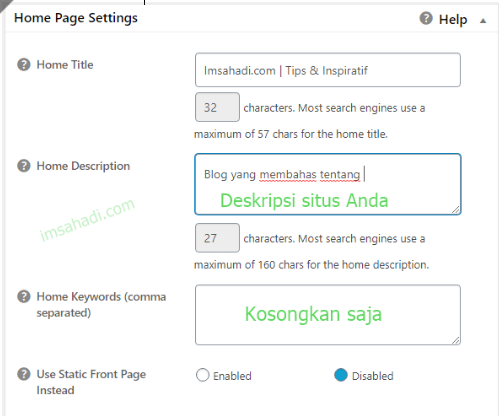 all in one seo pack home page settings