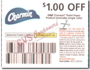 "$1/1 Charmin Toilet Paper  Coupon from ""P&G"" insert week of 2/23/20(exp 3/7)."
