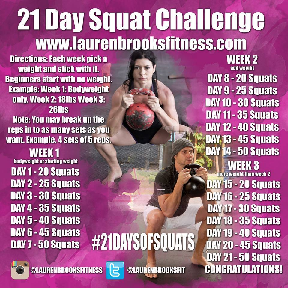 Lauren Brooks Fitness: 21 Day Squat Challenge - #21DaysOfSquats