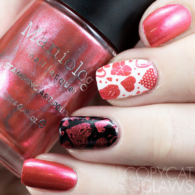 Maniology M117 Stamping Plate and Galentine Stamping Polish