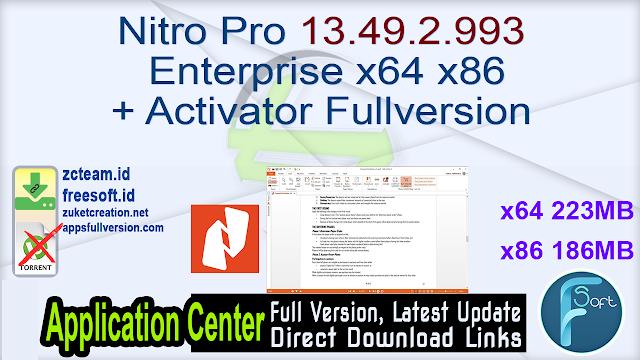 Nitro Pro 13.49.2.993 Enterprise x64 x86 + Activator Fullversion