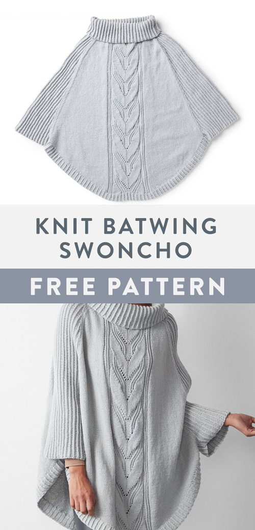 Knit Batwing Swoncho - Free Pattern