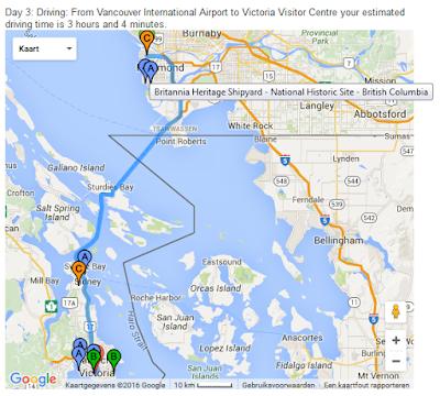 Gedetailleerd reisplan: Kaartje van stop naar stop