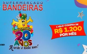 Cadastrar Promoção Aniversário Bandeiras 20 Anos Supermercado 1 Ano Compras Grátis e Vales Compras