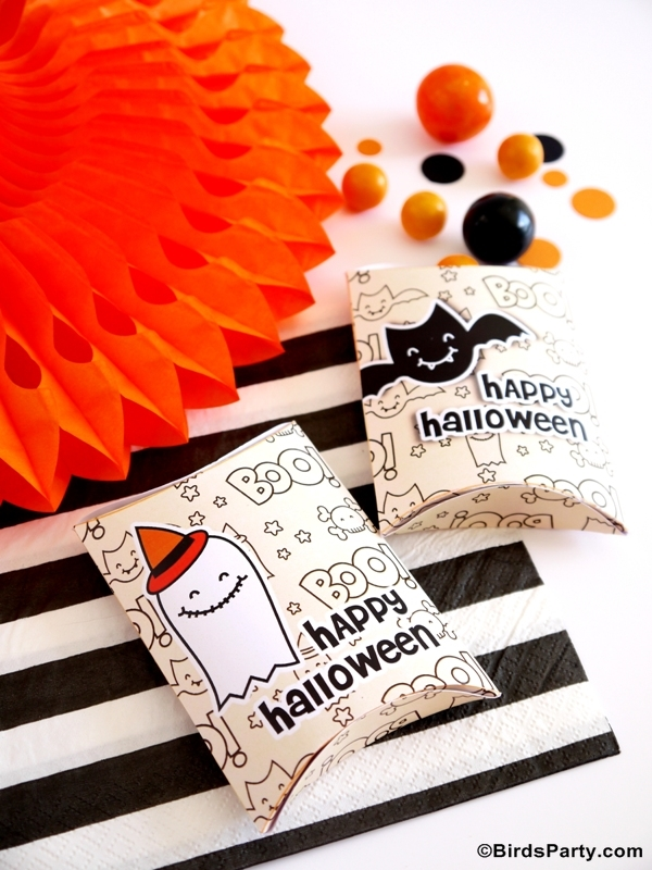 Halloween Free Printable Trick or Treat Party Boxes - BirdsParty.com