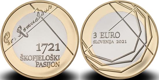 Slovenia 3 euro 2021 - 300th anniversary of Škofja Loka passion play