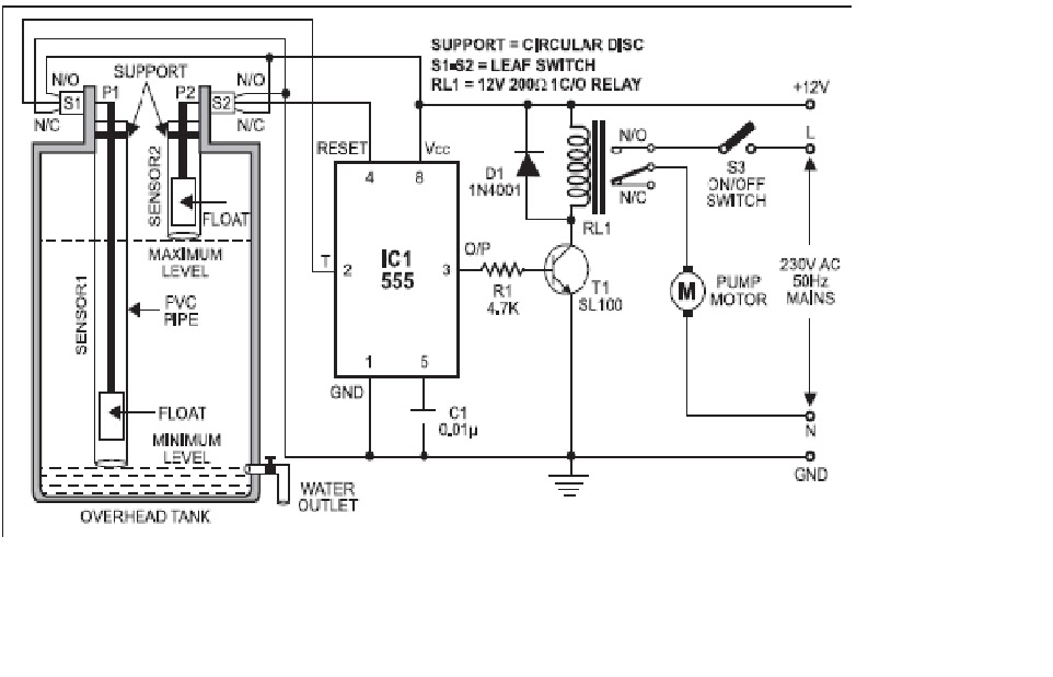 figure 1 simple automatic water level controller circuit